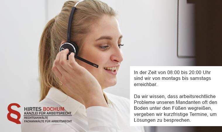 (telefonische) Terminvereinbarung | HIRTES Anwälte für Arbeitsrecht
